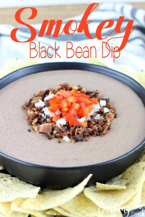 This Smokey Black Bean Dip is simple to make, and only requires 10 ingredients! It's creamy, smokey, and spicy, everything you want in a black bean dip! This dip is made for  holidays, parties and tailgating. | EverydayMadeFresh.com