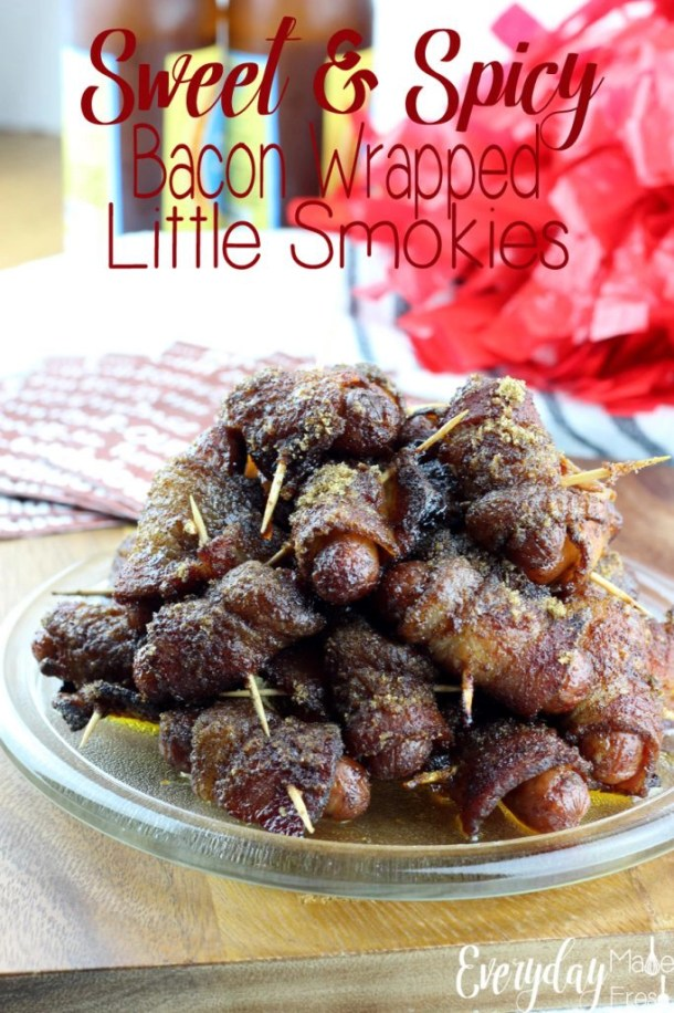 Sweet & Spicy Bacon Wrapped Little Smokies hit all the right taste buds! They are so good you can't stop eating them...Perfect for game day or a party snack! | EverydayMadeFresh.com