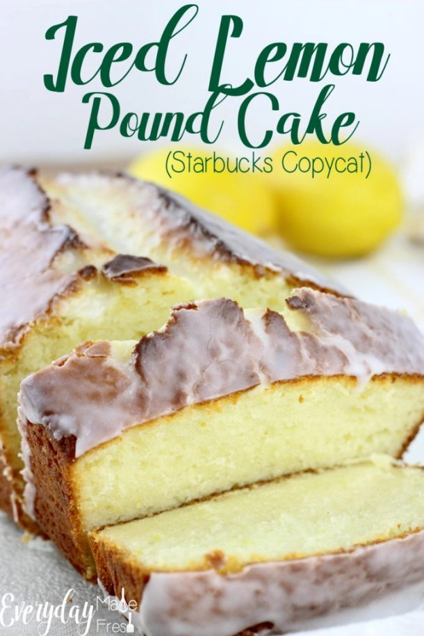 This Iced Lemon Pound Cake (Starbucks Copycat) is so easy to make, and far better than what you get from the coffee shop!  EverydayMadeFresh.com