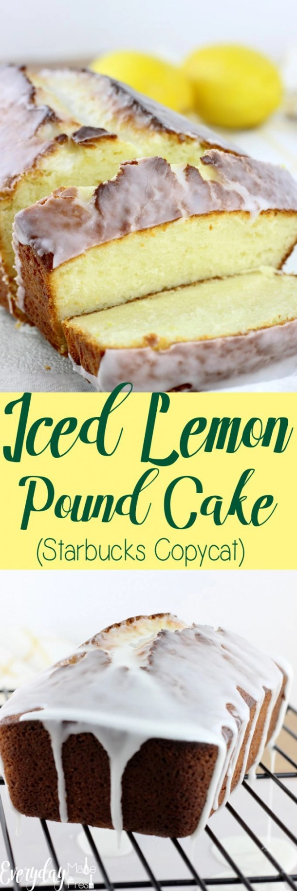 This Iced Lemon Pound Cake (Starbucks Copycat) is so easy to make, and far better than what you get from the coffee shop! | EverydayMadeFresh.com