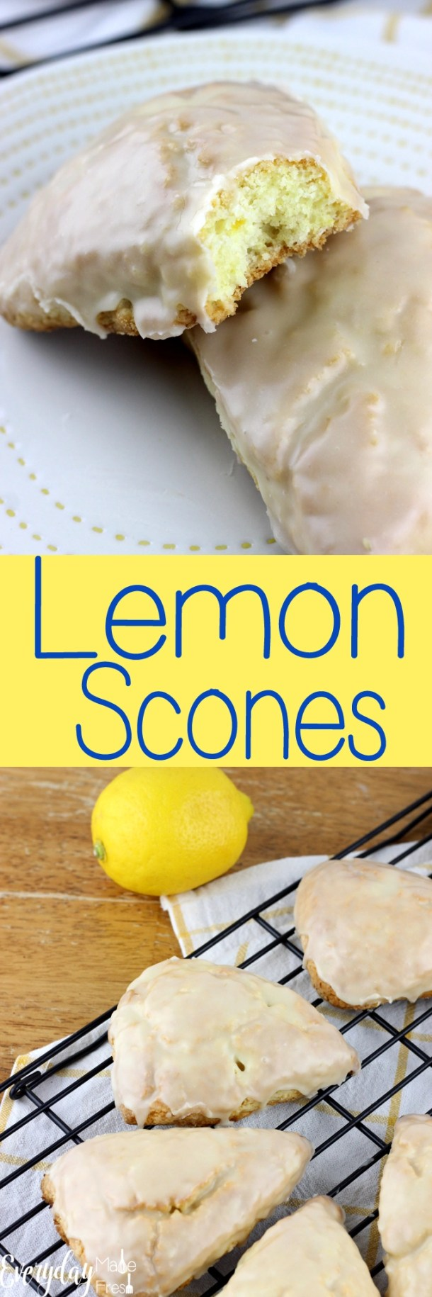 Lemon Scones are light and fluffy, bursting with lemon flavor! They are dipped in a lemon glaze that make these the perfect breakfast or snack. | EverydayMadeFresh.com