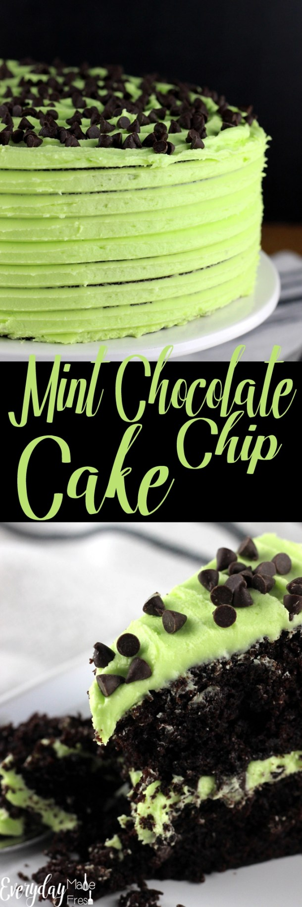 This is the only Mint Chocolate Chip Cake recipe you will ever need! Dark chocolate cake is the perfect vessel for this minty buttercream. YUM! | EverydayMadeFresh.com
