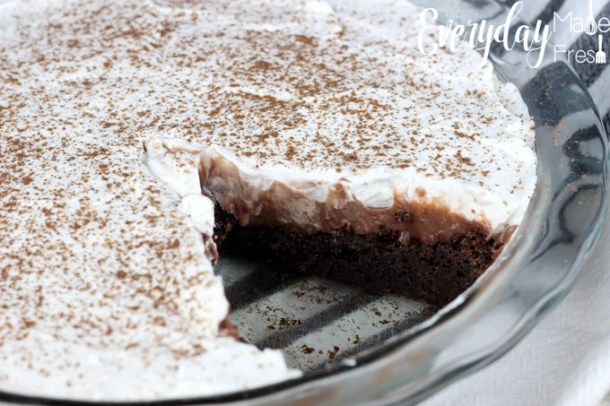 Fudgy brownies, pudding, and homemade whipped cream come together in this perfect Brownie Bottom Pudding Pie, that will have you coming back for more. | EverydayMadeFresh.com