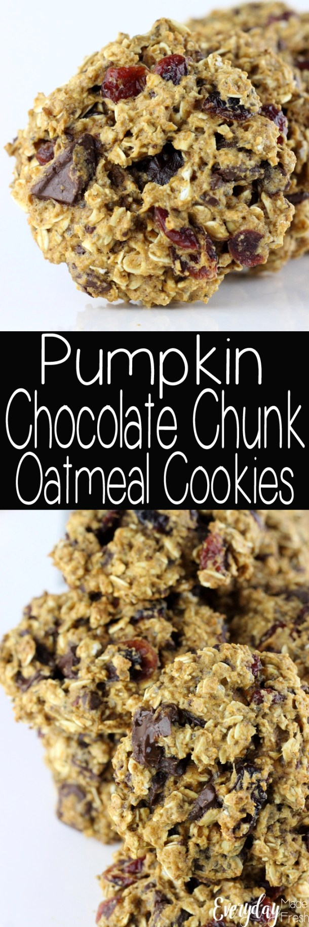 These Pumpkin Chocolate Chunk Oatmeal Cookies are thick, chewy, and they make a great breakfast cookie. Yes, cookies for breakfast! | EverydayMadeFresh.com