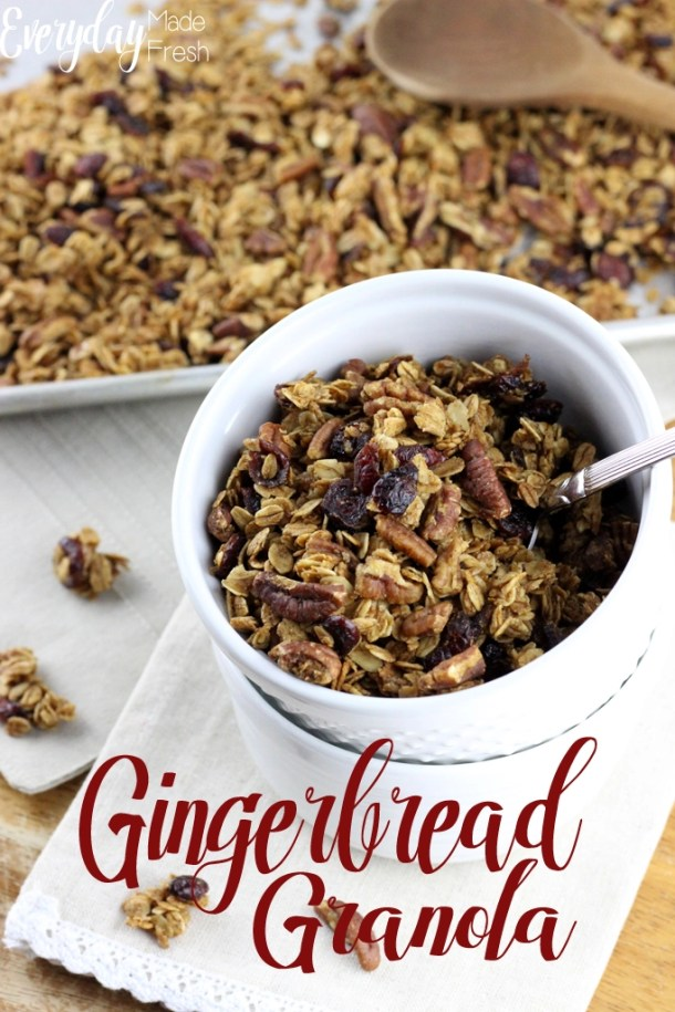 Gingerbread Granola sitting in a bowl, clusters of oats mixed with cranberries and pecans.