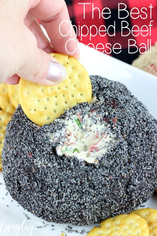 You'll want to double this recipe for sure, because this appetizer won't last long. The Best Chipped Beef Cheese Ball is loved by all! | EverydayMadeFresh.com