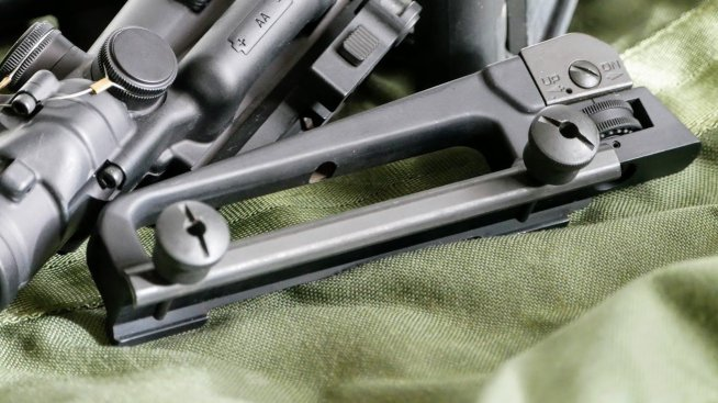 Classic carry handle iron sight from Bravo Company USA, which has 1/2 MOA adjustments for an iron sight zero