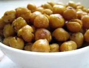 white bowl of roasted chickpeas