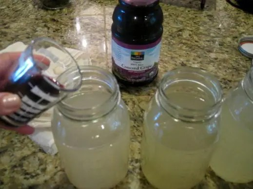 pouring grape juice into kombucha tea to flavor it