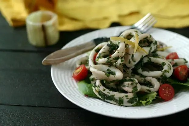 Calamari Salad with Preserved Lemons from www.everydaymaven.com