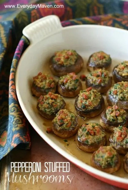 Pepperoni Stuffed Mushrooms from www.everydaymaven.com
