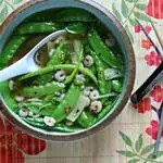 bowl of paleo shrimp soup with serving spooon
