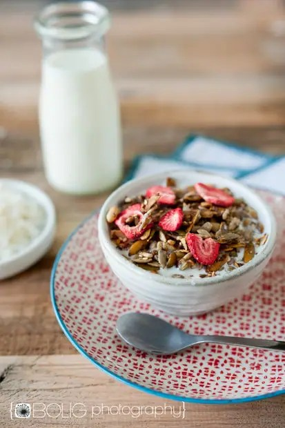 Strawberry Coconut Granola (Grain Free, Nut Free, Vegan) from www.everydaymaven.com