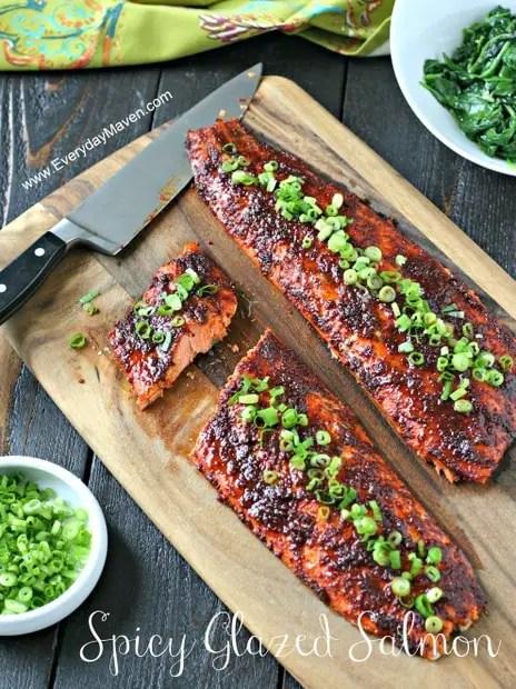 Spicy Glazed Salmon from www.EverydayMaven.com