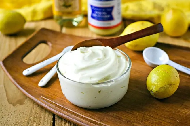 bowl of homemade mayonnaise made with coddled eggs