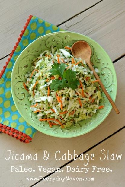 Jicama and Cabbage Slaw (Paleo. Vegan. Dairy Free.)