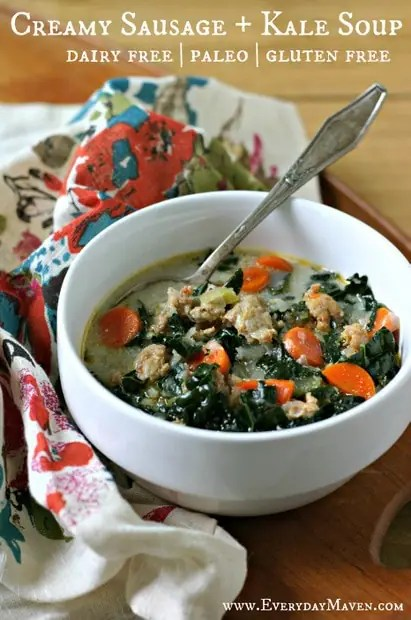 Creamy Sausage and Kale Soup. Dairy Free. Paleo from www.EverydayMaven.com