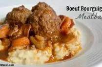platter of meatballs over mashed cauliflower with gravy