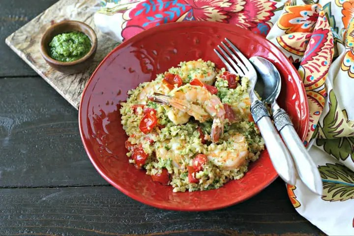 Pesto Cauliflower Rice with Shrimp from www.EverydayMaven.com