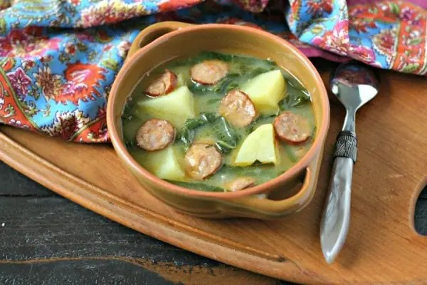 Caldo Verde Soup {Portuguese Green Soup} from www.EverydayMaven.com
