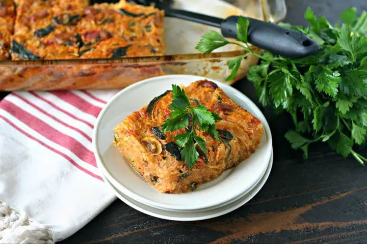 Spicy Sausage and Vegetable Spaghetti Squash Casserole from www.EverydayMaven.com