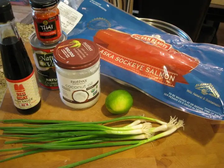 Ingredients on a cutting board to make Red Curry Salmon