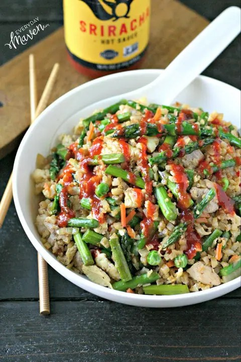 Chicken and Asparagus Cauliflower Fried Rice from www.EverydayMaven.com