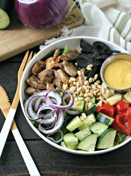 Mediterranean Chicken Bowl with Turmeric Tahini Dressing from www.EverydayMaven.com