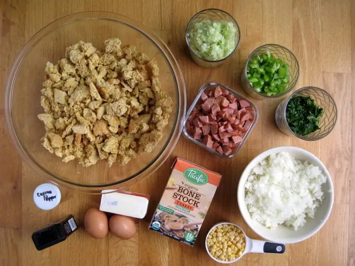 Cornbread Stuffing with Andouille Sausage from www.EverydayMaven.com