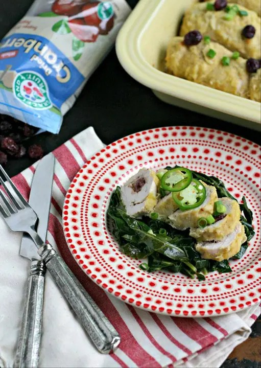Cranberry, Jalapeño and Goat Cheese Stuffed Chicken Roulade from www.EverydayMaven.com