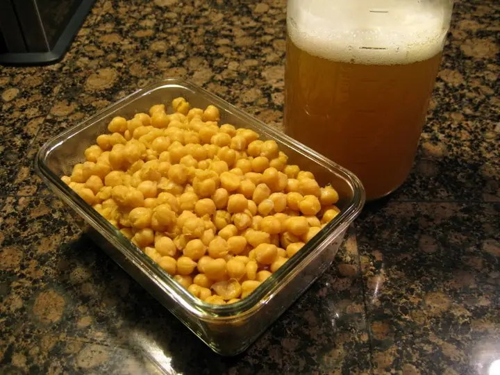 leftover cooked chickpeas and cooking liquid in glass containers