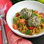 Chicken Meatballs with Pesto Butternut Squash Noodles from www.EverydayMaven.com