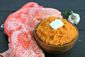 Instant Pot Vegan Mashed Sweet Potatoes with Garlic and Rosemary from www.EverydayMaven.com