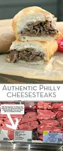 two photos of real philly cheese steak with text for pinterest