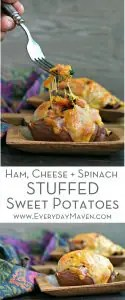 Leftover Ham, Cheese and Spinach Stuffed Sweet Potatoes from www.EverydayMaven.com