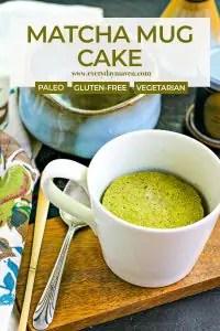 close up of matcha mug cake