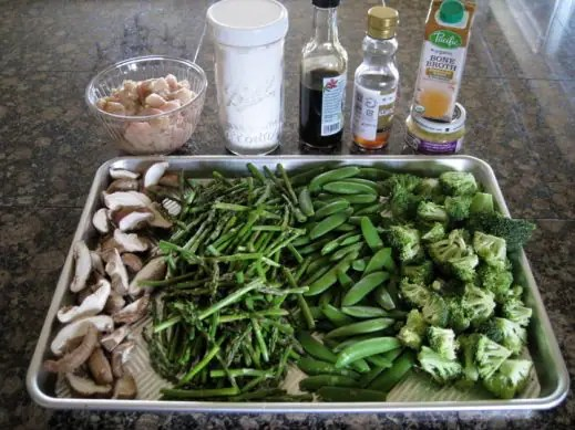 cut up vegetables for stir fry with sauce ingredients