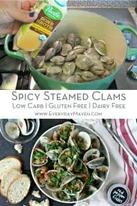 image with two photos - one of clams going into large pot and photo on the bottom of cooked and plated clams topped with parsley and served with bread