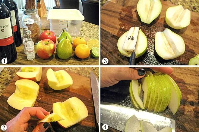 cutting fruit for red sangria recipe