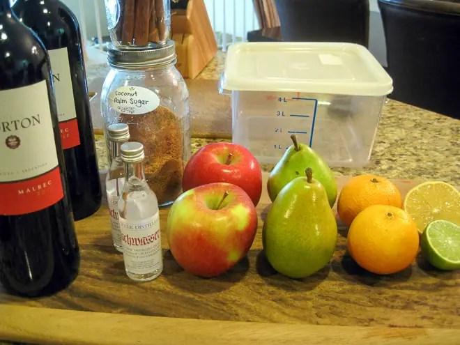 ingredients to make fall sangria recipe