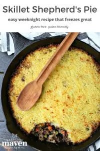 image of cooked skillet easy shepherds pie with wooden spoon on top and text at the top for pinterest