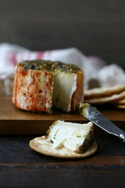 Marinated Cana de Cabra Spanish Goat Cheese with a slice cut out on top of a water cracker