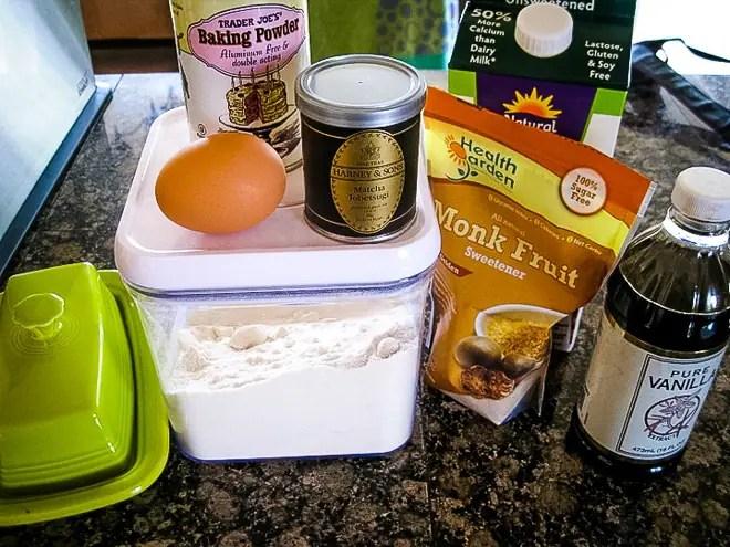 ingredients to make matcha mug cake