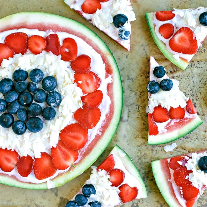 close up of fruit pizza with watermelon, berries and non-dairy yogurt