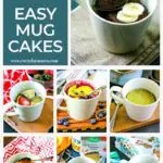 collage of easy mug cake recipes in the same beige mug