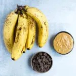 ripe bananas, chocolate chips and nut butter to make baked bananas for camping