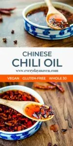 small bowl of homemade chinese chili oil with wood spoon