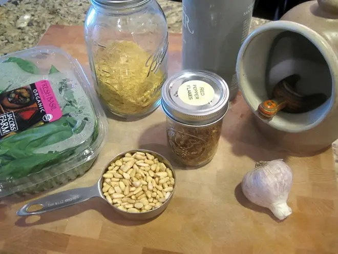 ingredients to make vegan pesto