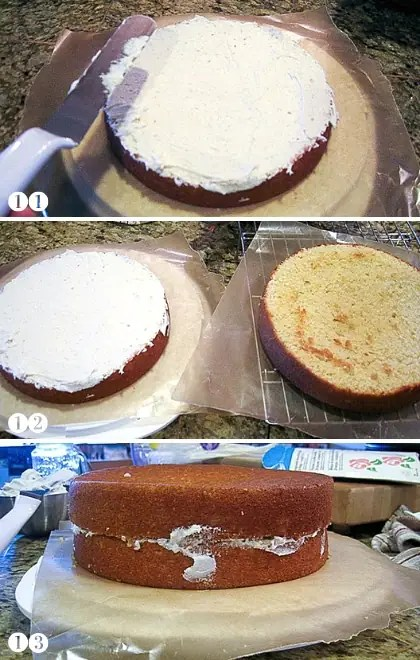 step by step photos of frosting a gluten free cake