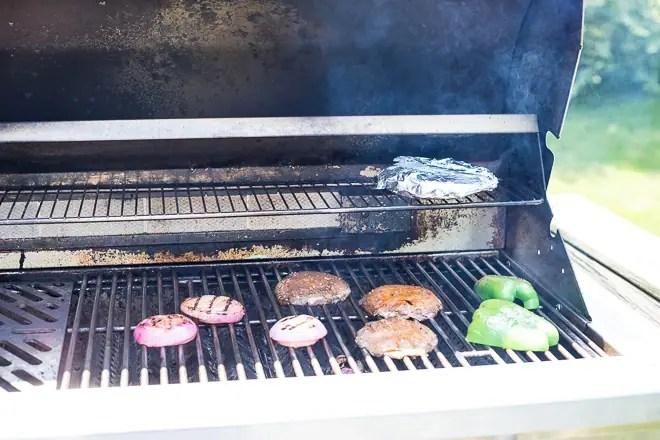 grilling mushrooms, peppers and onions for vegan fajita tacos